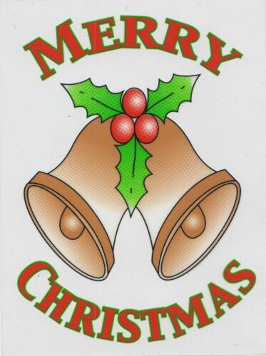 Noël se cramponnent sur le Vinyle Voiture Fenêtre Autocollant-or cloches CC23