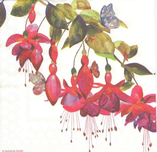 2 Serviettes en papier Fleur fuchsia Decoupage Paper Napkins Flower