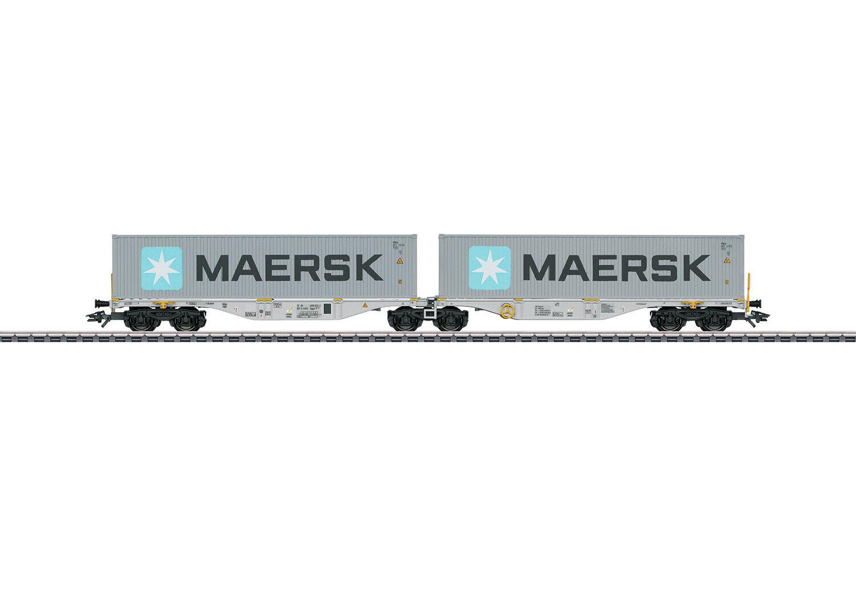 Märklin 47803 doppio contenitore carrello portante Sggrss 80 con carico