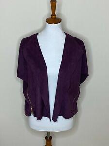 Chico's Size 1 Purple Faux Suede Short Sleeve Cardigan Open Front Sweater Zipper