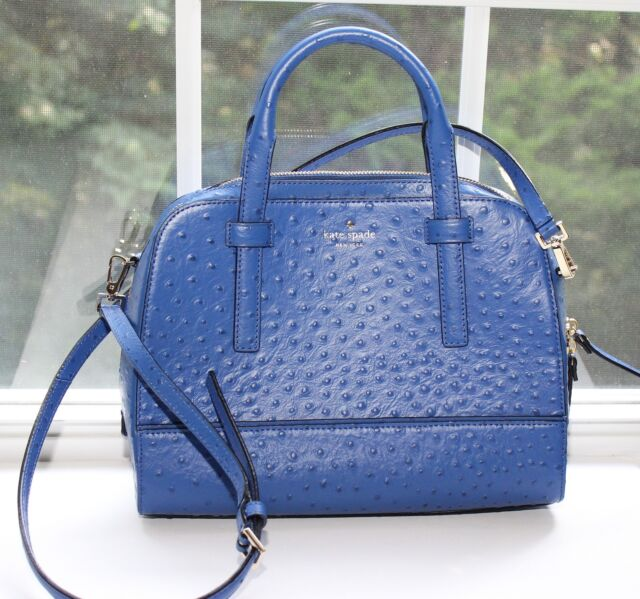 bf367e43355b Kate Spade Riverside Street Lake Blue Ostrich Leather Felix Satchel ...