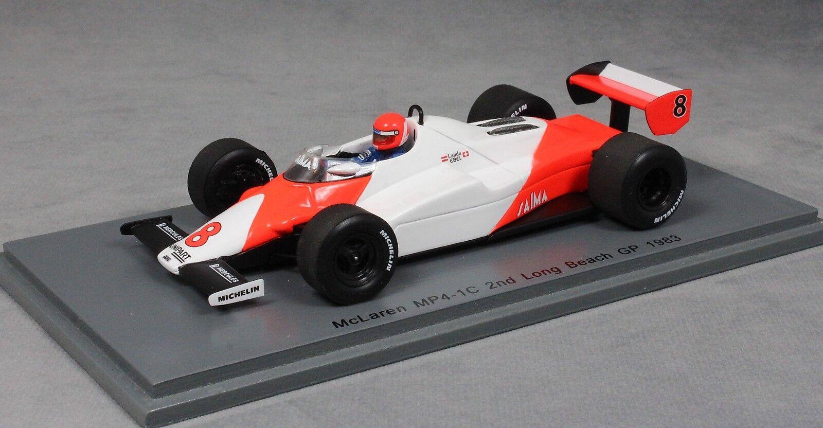 Spark McLaren MP4/1C 2nd LONG BEACH GRAND GRAND GRAND PRIX 1983 Niki Lauda S4842 1/43 NEUF   Merveilleux  584545