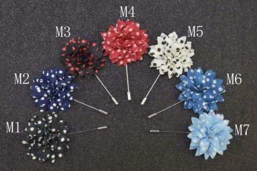 "Handmade Men's Flower Lapel Pin 2/"" Daisy Boutonniere Polka Dot Stripe ML12"