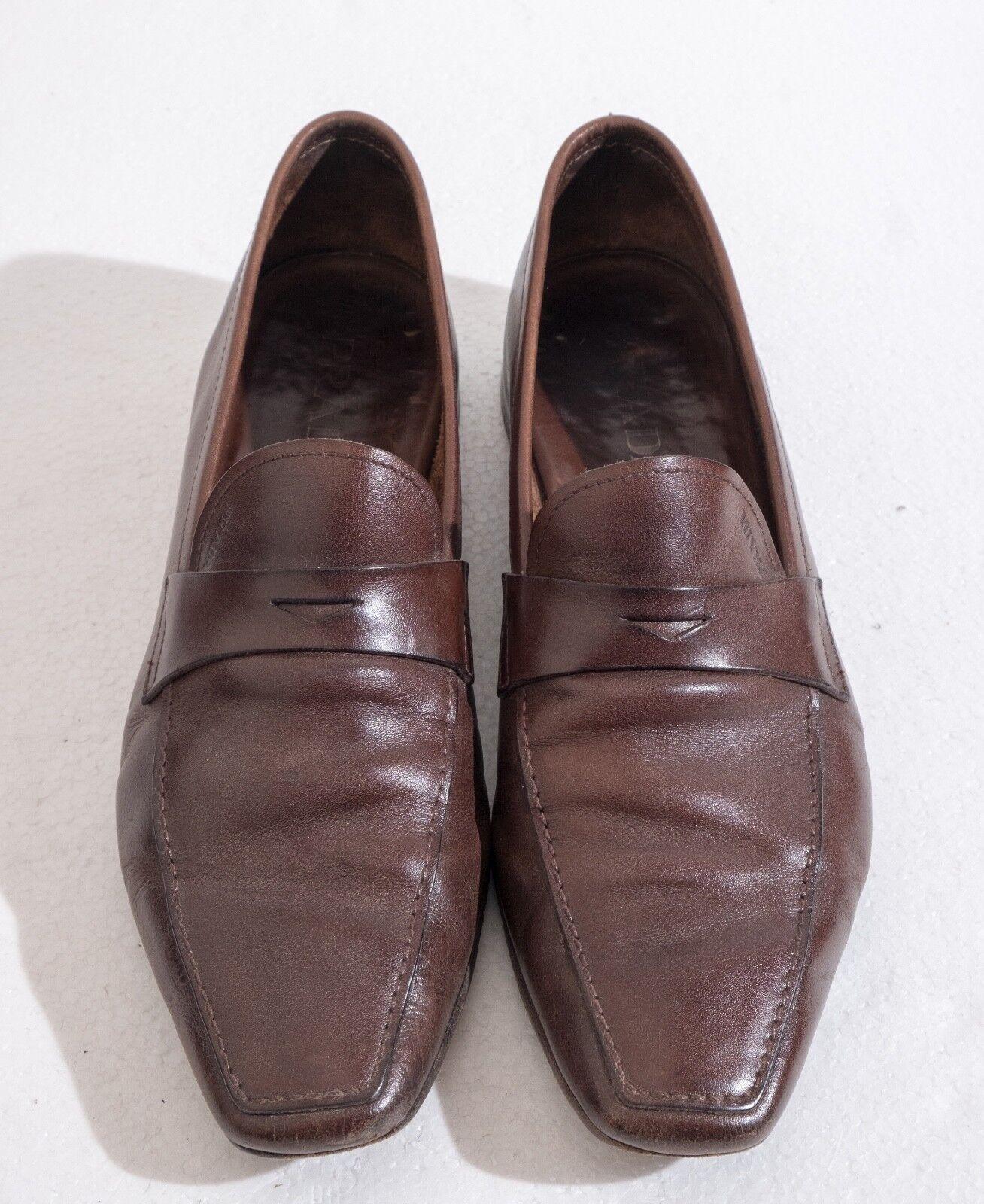 Genuine Prada Mens braun Leather Loafers Größe 8 (Style 1727) 1727) 1727) 6a497e