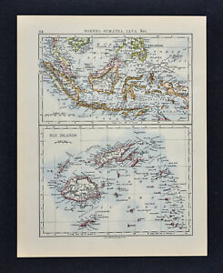 1895 Johnston Map - East Indies & Fiji Islands Philippine Borneo