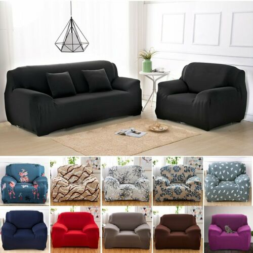 1//2//3//4 Seater Elastic Sofa Slipcover Stretch Protector Couch Cover Thick Plush