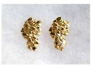 Image Is Loading 10k Real Gold Yellow Nugget Stud Earring Uni