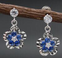 JM013 14K Solid White Gold 10mm Flower Blue Cubic Zirconia(CZ) Drop Earrings