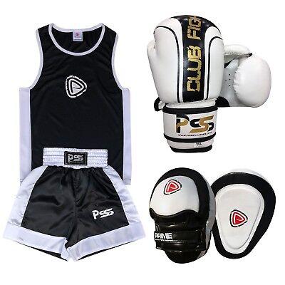 Radient Junior Boxe Set Di 3 Boxe Uniforme Boxing Glove 1006 Focus Pad 1104 (set-19)- Avere Sia La Qualità Della Tenacia Che La Durezza