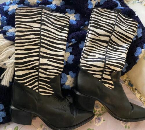 Brighton Cowboy Boots ZEBRA STRIPED Pony Hair Ladi