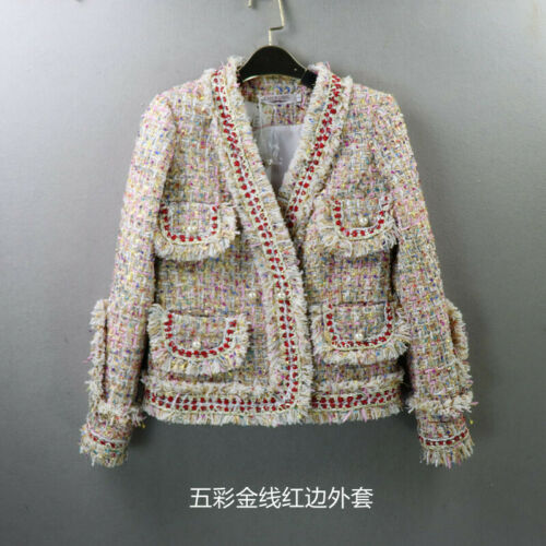 Womens Designer Inspired Pearl Button Tweed  Multi-Color Jacket Coat Blazer