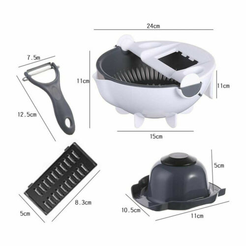 Details about  /Multifunction 9 In 1 Magic Rotate Vegetable Fruit Cutter Grater w//Washing Basket