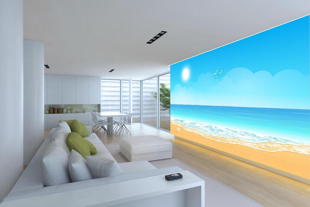 3D Sun Beach Sky 75 Wall Paper Murals Wall Print Wall Wallpaper Mural AU Summer