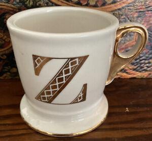 Anthropologie-Monogram-Mug-034-Z-Initial-Letter-Cup-Shaving-White-Gold