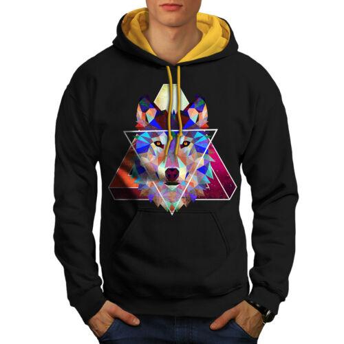 nero a cappuccio Wolf con uomo Felpa geometrica cappuccio contrasto oro qv6fXOWnw