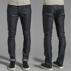 Nudie-Herren-Slim-Skinny-Fit-Stretch-Raw-Jeans-Tape-Ted-Dry-Ecru-Embo-W32-L30