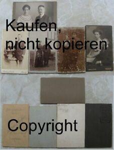 Foto-CDV-5-x-Paar-Soldat-wk1-Tracht-Hochzeit-CDV-1893-1916-Leipzig-Dortmund