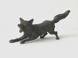 Old Bronze Fox in attack position Bronze Figurine Hunting UM 1900/20