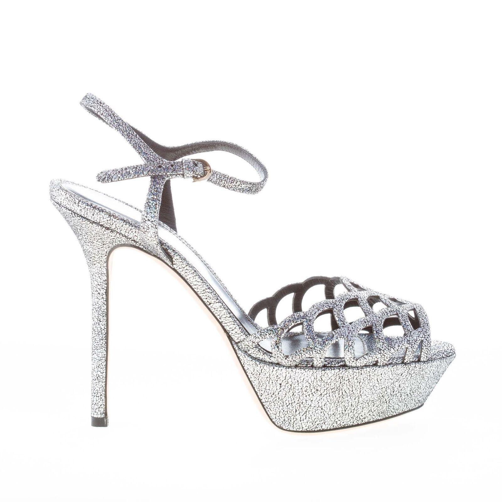SERGIO ROSSI scarpe donna Sandalo in pelle effetto glitterato argento plateau