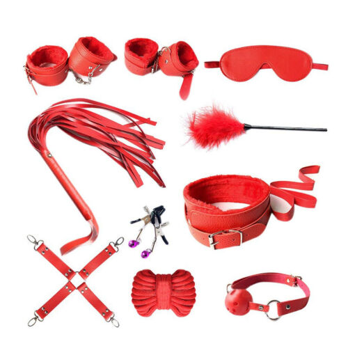 10Pcs-Adult-Sex-SM-Toys-Handcuffs-Cuffs-Strap-Whip-Rope-Neck-Bandage-SM-Red