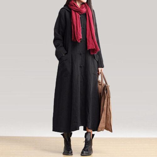 Manches Longues Femmes Lin Manteau avec Capuche Robe Bordeaux Bleu Marine Noir