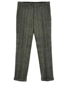 Men-039-s-Tweed-Vintage-Herringbone-Slim-Dress-Pants-Work-Wedding-Trousers
