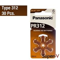 Panasonic 1.4v Hearing Aid Batteries Size 312 (30 Batteries)