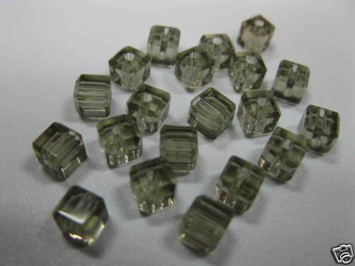 Glasschliffperlen Würfel 4x4mm rauch grau Beads 3334 K4