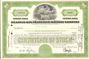 San Francisco Railway Company /> 1950s FRISCO bond certificate St Louis