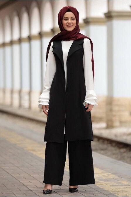 S-981 Tesettür Ikili Takim- Zweiteiliges Outfit-Hose & Jäckchen -Hijab