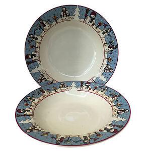 Cambridge-Potteries-Snowman-Serenade-Two-Rimmed-Soup-Cereal-Bowls