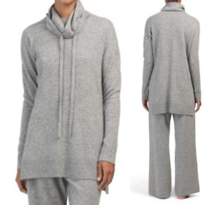 L CYNTHIA ROWLEY 100/% Cashmere Cowl Neck Casual Lounge Pants Set Pajama sz M