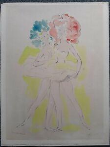 """MARCEL VERTES(1895-1961) LARGE LITHO HAND SIGNED PENCIL ARTIST PROOF """"DANCERS"""""""