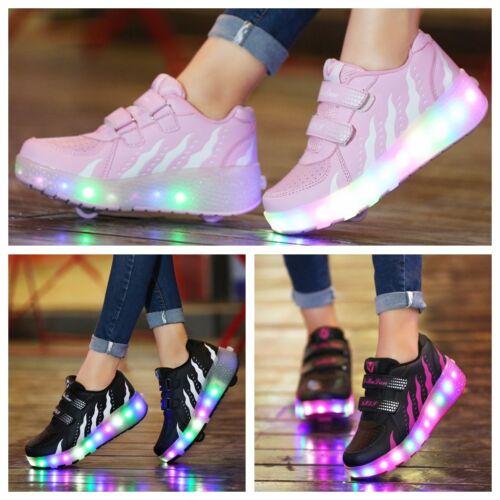 Kids 2 Wheels Jazzy Junior Girls Boys Light Heelys LED Shoes Roller Skate