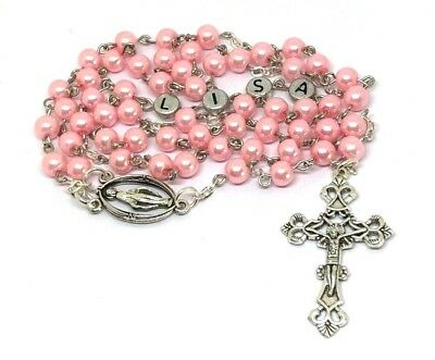 Personalised Rosary beads ANY NAME Religious Occasion Gift Christening Baptism