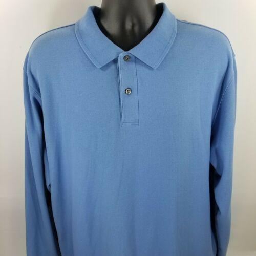 LL bean XL long sleeve baby blue Polo Shirt 2 butt