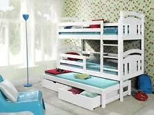 BUNK BEDS 3ft Solid Wooden Triple Bed With Mattresses And Storagewhitepine