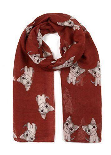 Stylish Women Soft Long Cat Print Pattern Scarf Shawl Wrap Stole Scarves