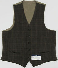 Men's RALPH LAUREN Olive Brown Wool Plaid Suit Dress Vest 40R 40 Regular NWT NEW