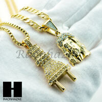 "HIP HOP ICED OUT ELECTRIC PLUG / JESUS FACE 24"" BOX & CUBAN LINK CHAIN NECKLACES"