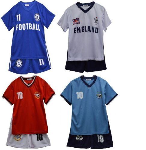 KID BOYS GIRLS FOOTBALL KIT SHORT TOP PYJAMA ENGLAND MANCHESTER CHELSEA 2-13 Y