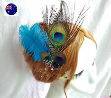 Women Lady Bride Blue Feather Peacock Race Melbourne Cup Hair Clip Fascinator
