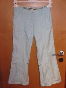 Sommer-Hose-Maedchen-Gr-164-XS-blau-Stoffhose-leicht-7-8-Baumwolle-Caprihose