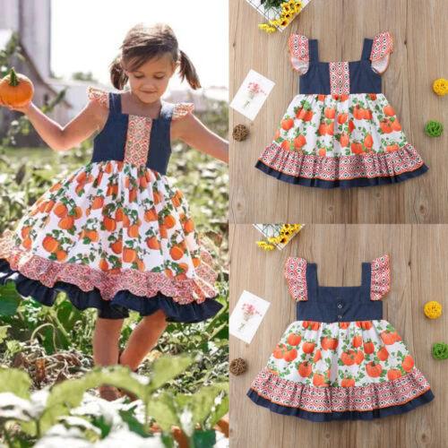 Toddler Baby Kids Girls Summer Ruched Halloween Pumpkin Print Dress Clothes L