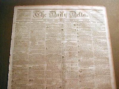 Rare Original 1850 New Orleans LOUISIANA newspaper  pre-CIVIL WAR 160 years old