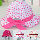 Baby Toddlers Girls Sun Hat Polka Dot Flower Bucket Cap Colour Matching Bow Hats