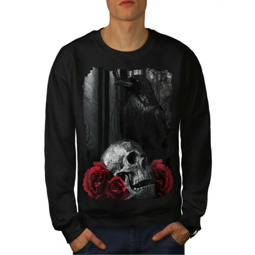 Rose Raven Art Felpa Skull New Black Men 8q61AwRv