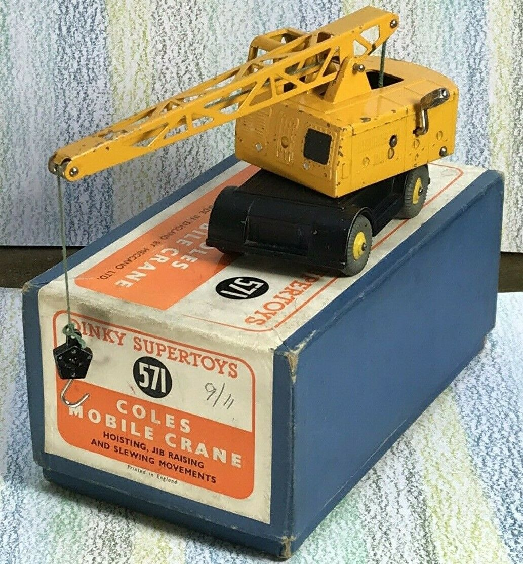 DINKY TOYS  571 jaune foncé Coles GRUE MOBILE gris pneumatiques nminvgb Early 1950 S