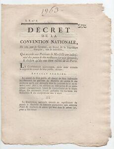 1793 Rare Decret Marseille Suite Inssurection Federaliste ... Marchandises De Proximité