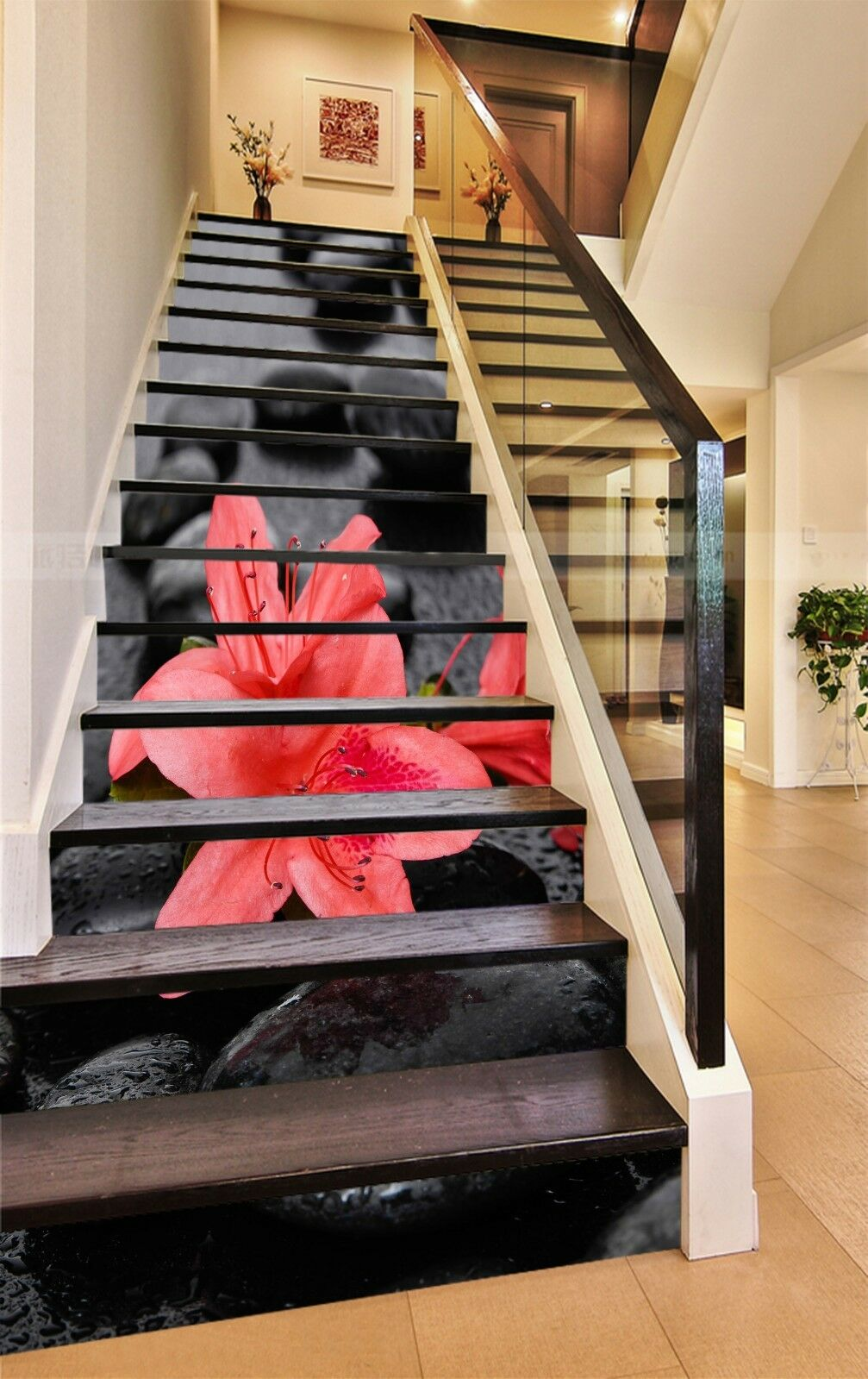 3D Stone flower 5 Stair Risers Decoration Photo Mural Vinyl Decal Wallpaper UK